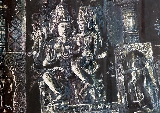 sculpture-Siva Parvathi - watercolor