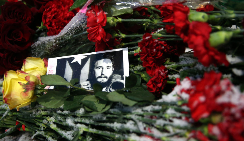 MOSCOW, RUSSIA - NOVEMBER 26, 2016: Flowers at the Cuban Embassy in Moscow in memory of Cuba's revolutionary leader and former president Fidel Castro. Castro died aged 90 on November 25, 2016. Artyom Geodakyan/TASS (Photo by Artyom GeodakyanTASS via Getty Images)