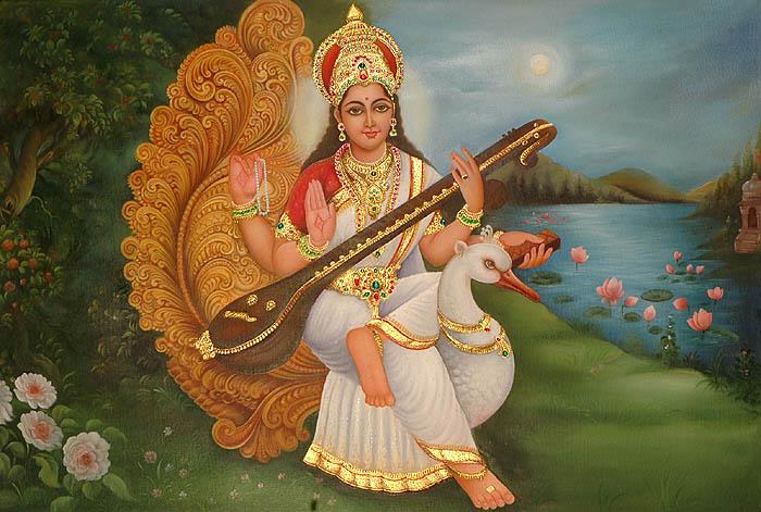 goddess_saraswati_seated_on_her_mount_or98
