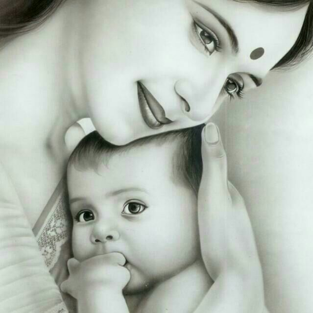 mother-and-child-pencil-art