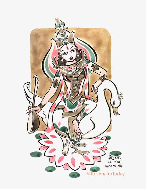 180122 -Saraswati -lr watercolour 24x32cms