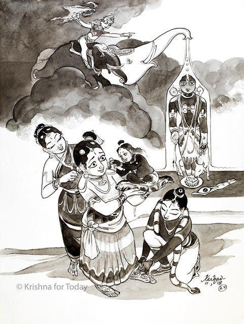 180111 - Tiruppavai 27 -Koodarai vellum, seer (rectifier) Govinda. lr. #watercolour #24x32cms Saayujyam.